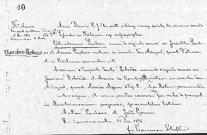 Theodoro and Maria's Marriage Certificate