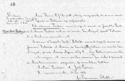Maria and Theodoro's Marriage Certificate