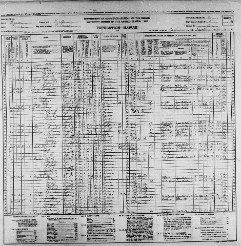 1940 Census for Hawaii Indexed and Online