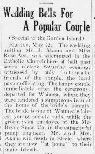 That's Old News:  The Akana Wedding