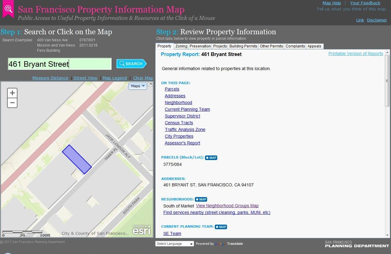 Huge Find:  San Francisco Property Information Map