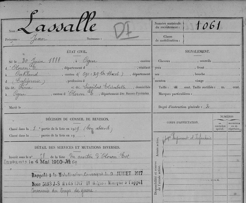 Found my Grandfather in French Military Records